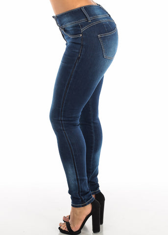 Image of Dark Blue Butt Lifting Skinny Jeans