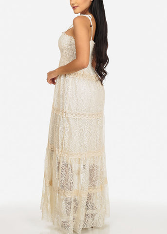 Beige Crochet Details Maxi Dress