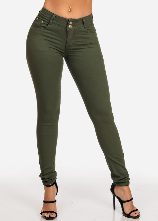 Butt Lifting Mid Rise Olive Skinny Jeans
