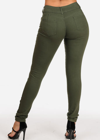 Women's Junior Ladies 2 Button Mid Rise Solid Olive Super Stretchy Olive Skinny Jeans