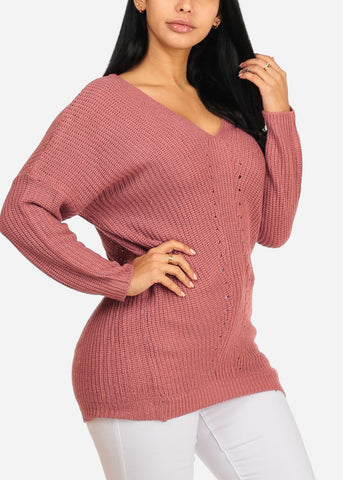 Knitted Rose V Neckline Sweater