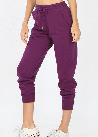 Dark Purple Drawstring Waist Sweatpants