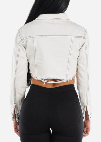 Button Up White Cropped Jacket