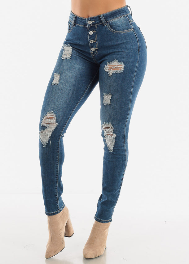 Distressed Button Front Skinny Jeans