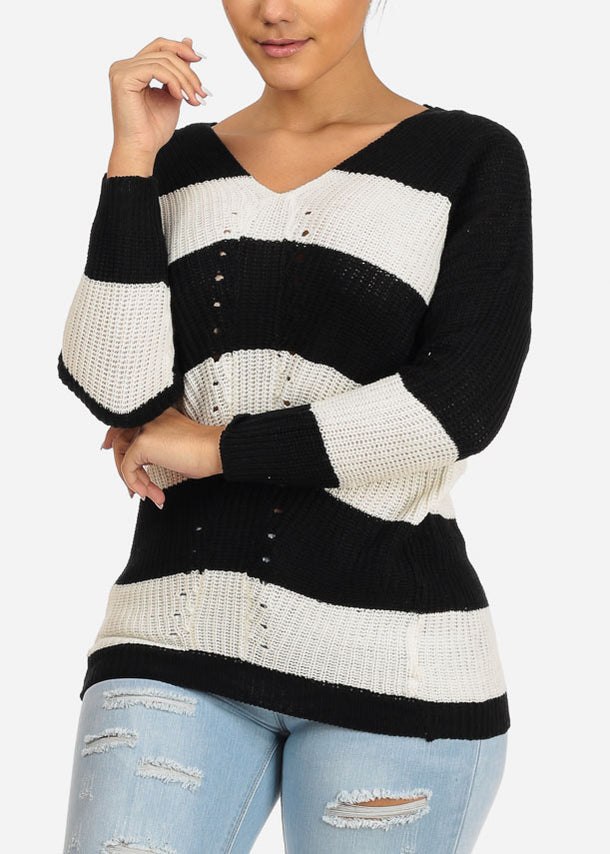 Black And White Stripe V-neck Knitted Sweater