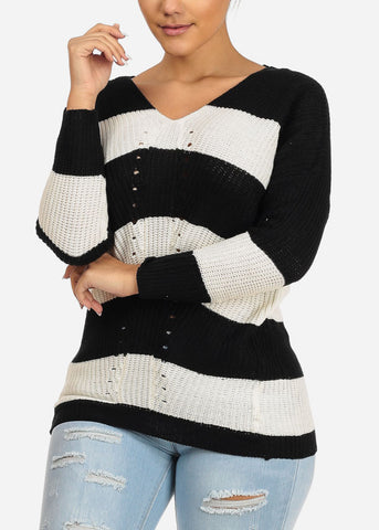 Image of Black And White Stripe V-neck Knitted Sweater