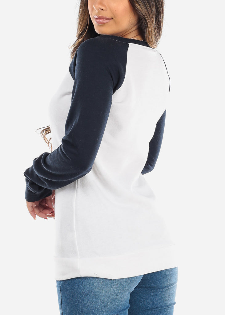 White & Navy Pullover Sweatshirt