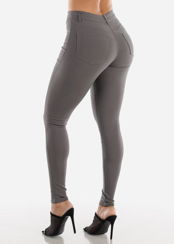 High Waisted Grey Jegging Skinny Pants