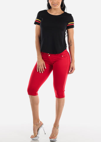 Image of Levanta Cola Red Denim Capris