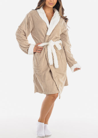 White & Khaki Fleece Robe