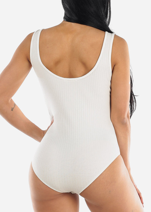 Gold Buttons White Ribbed Bodysuit