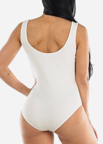 Image of Gold Buttons White Ribbed Bodysuit