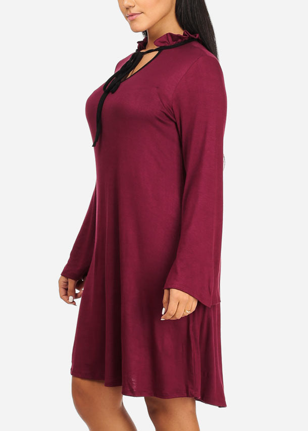 Angel Sleeve Ruffle Burgundy Dress
