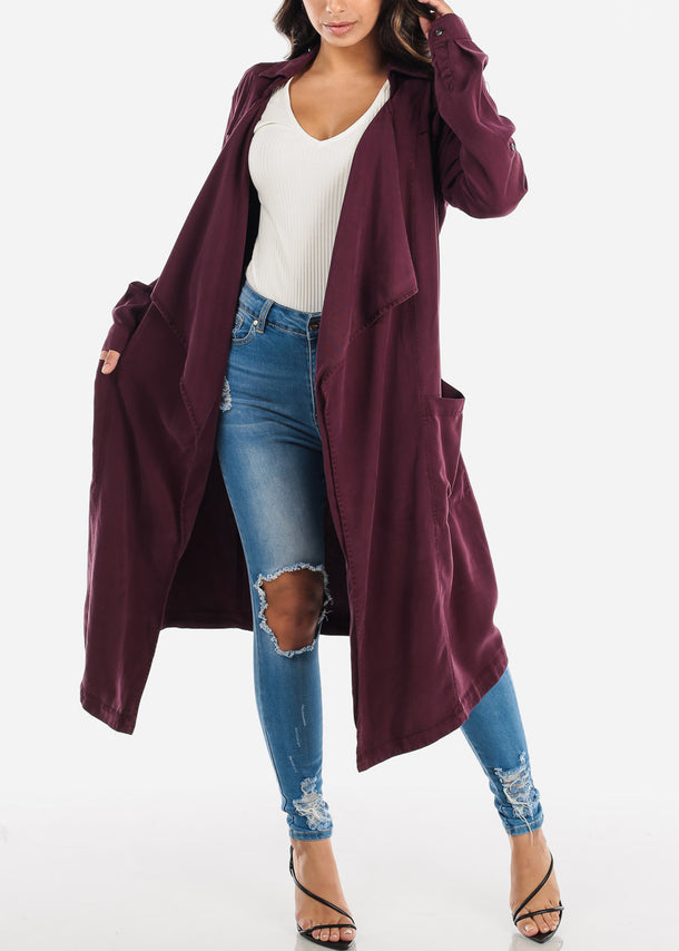 Open Front Plum Coat