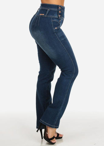 Butt Lifting High Waist Straight Leg Jeans