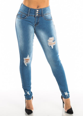 Image of Ripped Butt Lifting Blue Skinny Jeans