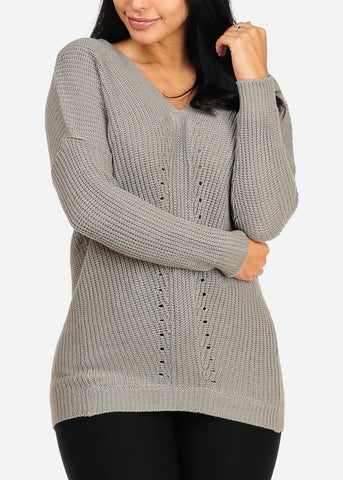 Cozy Grey Knitted Sweater Top