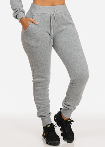 High Rise Drawstring Jogger Pants (Grey)