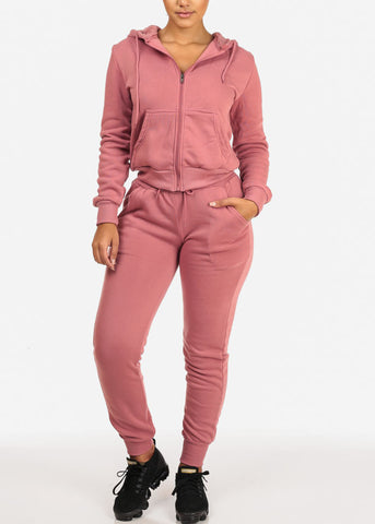High Rise Drawstring Jogger Pants (Pink)