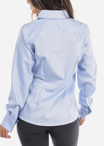 Image of Light Blue Wrinkle-Free Button Down Shirt