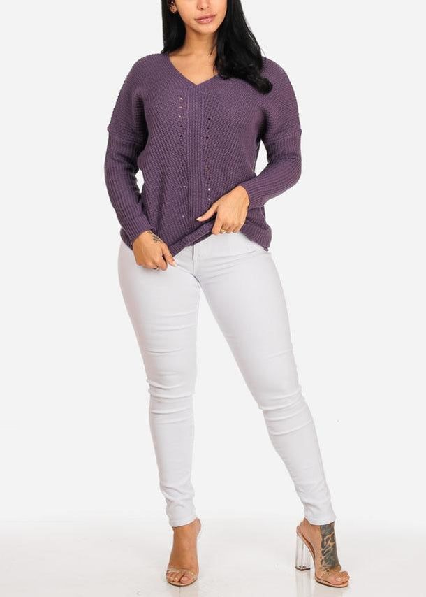 Purple Knitted V Neckline Sweater