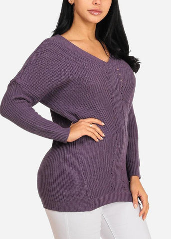 Image of Cozy Purple Knitted V Neckline Long Sleeve Sweater Top