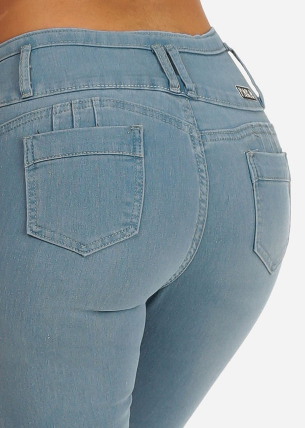 Light Wash Butt lifting Ripped Skinny Jeans