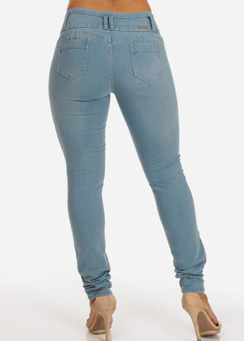 Colombian Design Light Wash 3 Button Distressed Skinny Jeans