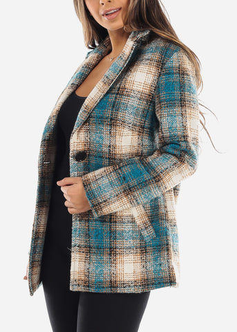 Blue & Beige Plaid Tweed Blazer