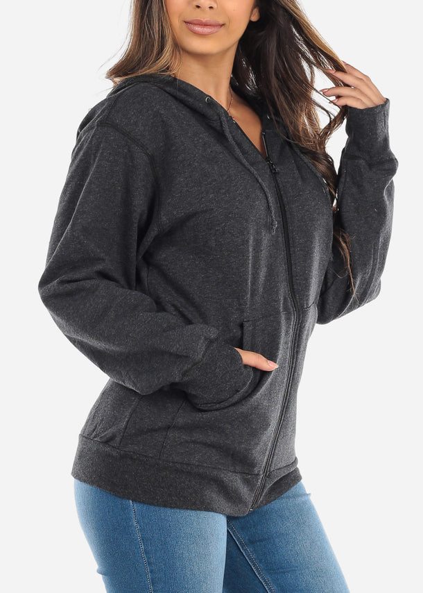 Zip Up Heather Charcoal Sweater
