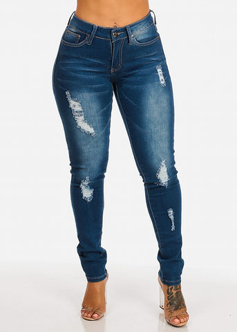 Midi Rise Ripped Skinny Jeans
