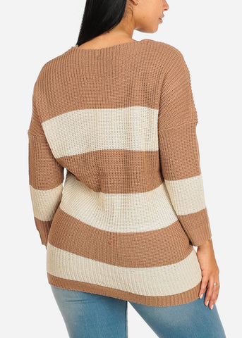 Beige And White Stripe V-neck Knitted Sweater