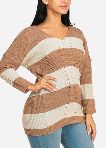 Image of Beige And White Stripe V-neck Knitted Sweater