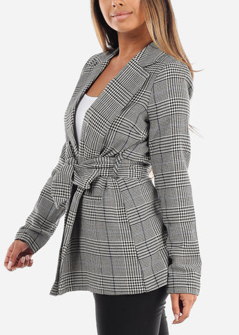 Image of Tie Front Blue Houndstooth Print Blazer