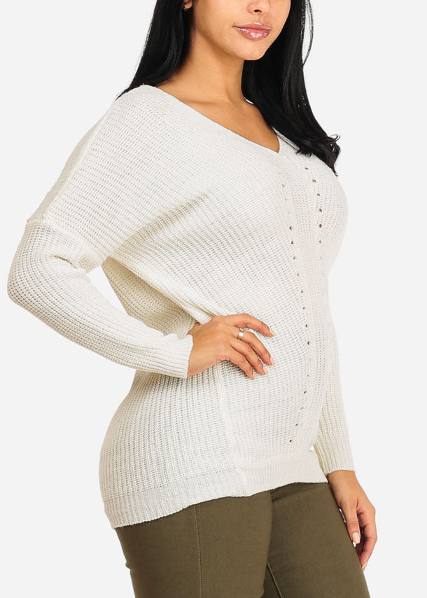 Cozy Knitted White V Neck Sweater