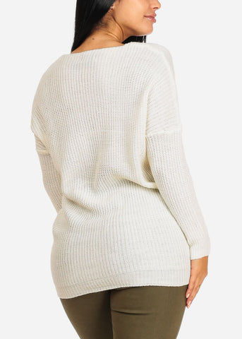 Image of Cozy Knitted White V Neck Sweater