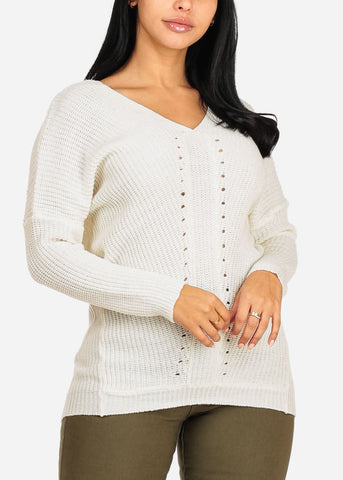 Cheap Knitted White V Neckline Sweater