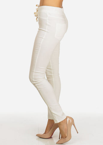 White Drawstring Stretchy Skinny Pants
