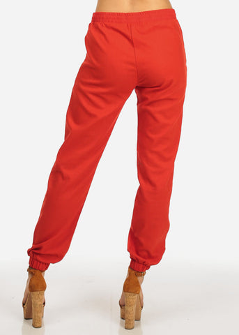 Red Drawstring 2-Pocket Linen Pants