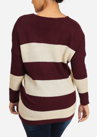 Burgundy And Ivory Stripe V-neck Knitted Sweater
