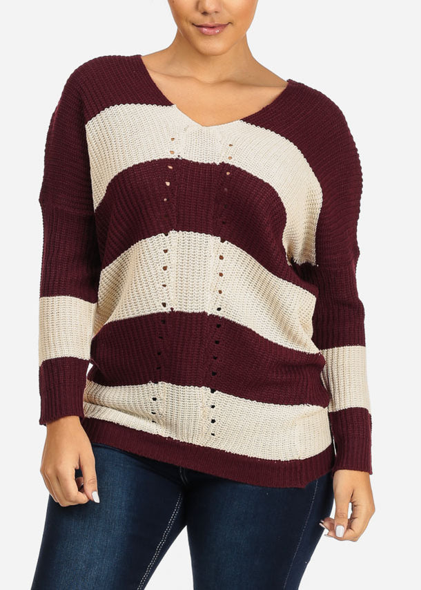 Burgundy And Ivory Stripe Knitted Sweater