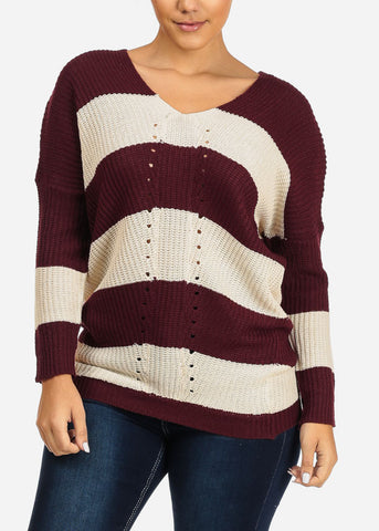 Image of Burgundy And Ivory Stripe V-neck Knitted Sweater