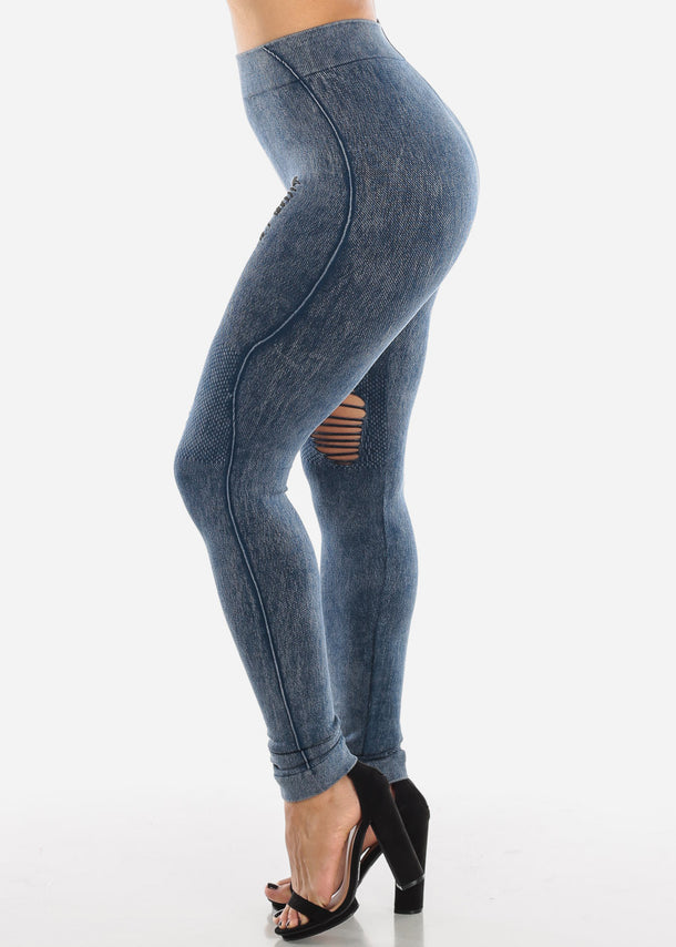 Ripped Acid Wash Blue Leggings