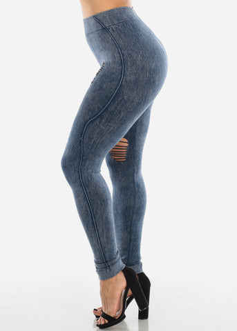 Image of Ripped Acid Wash Blue Leggings