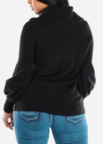 Image of Off Shoulder Foldover Top Black Sweater