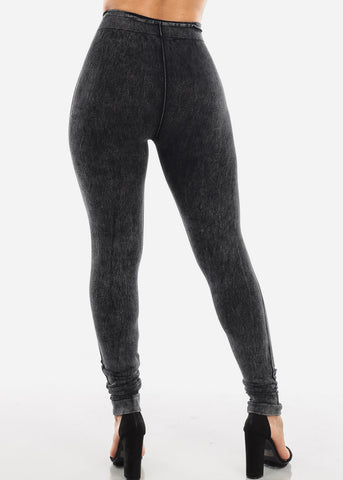 Ripped Acid Wash Black Leggings