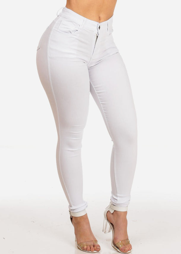 Women's Junior Night Out Club Wear Stretchy Solid White High Waisted 1 Button Jeggings Skinny Jeans