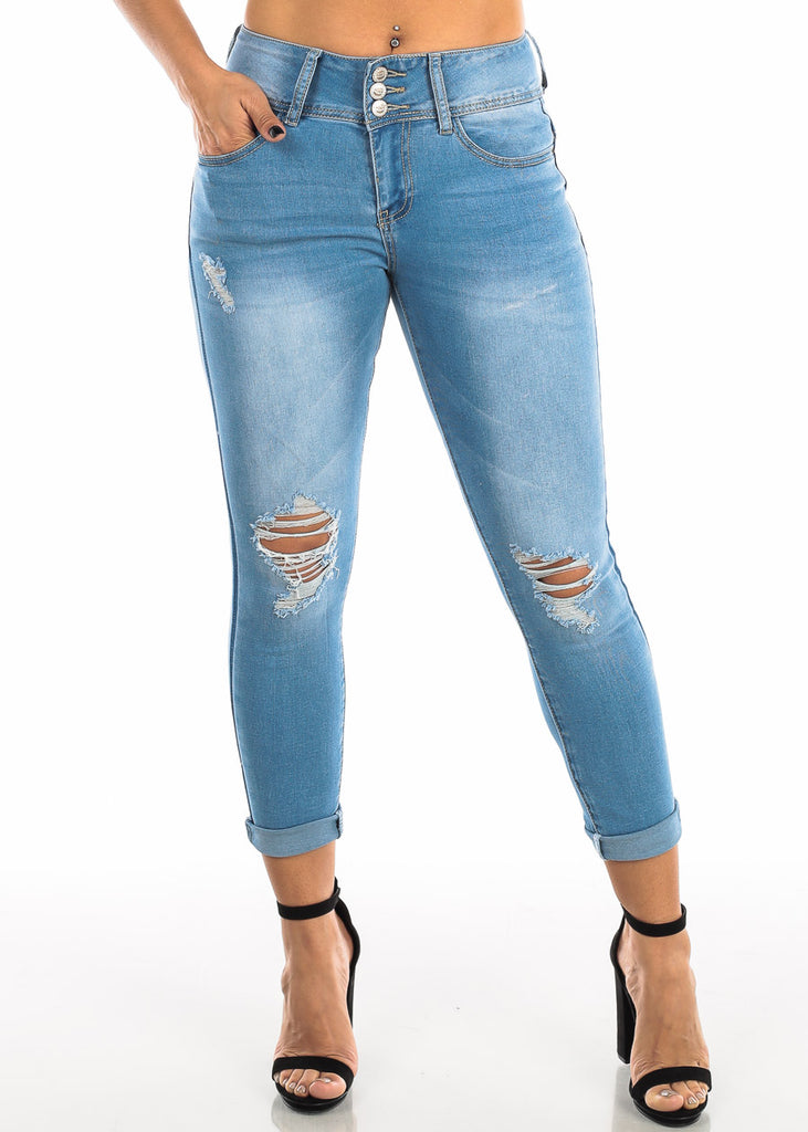 Ripped Light Wash Skinny Ankle Jeans