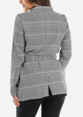 Image of Tie Front White Houndstooth Print Blazer