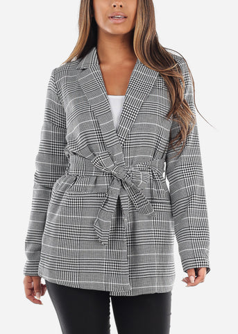 Image of Cheap Tie Front White Houndstooth Print Blazer